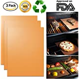 "Copper Grill Mats (3 Pack) - New Durable Quality - Non-Stick Grill Mats - FDA Approved, PFOA Free, Grill Gift Accessory - For Gas, Charcoal, or Electric Grills - 16"" x 13"""