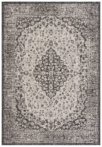 Safavieh Courtyard Collection CY8720-37612 Black and Grey 5 3 x 7 7 Area Rug, 5 3 x 7 7