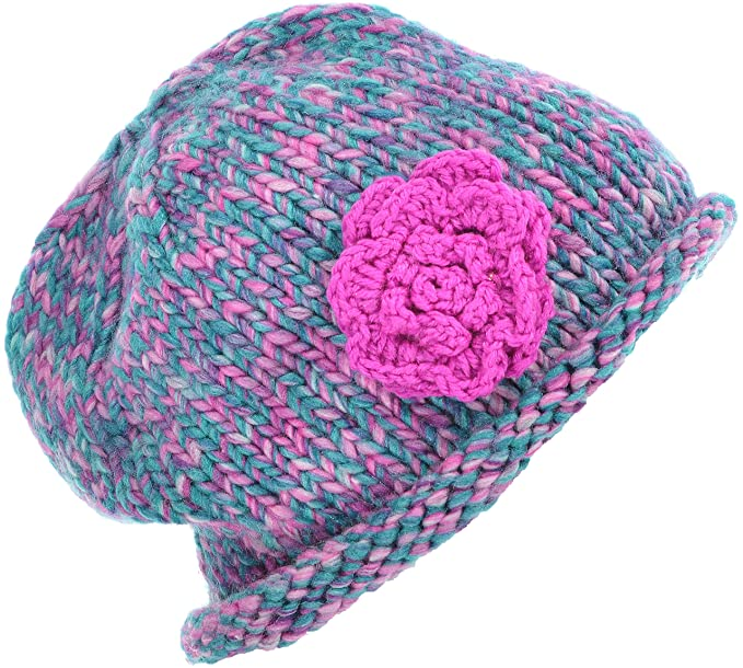 aa05f0ec2af Hand By Hand Aprileo Women s Knitted Beanie Floral Beret Hat Ribbed Beanie  Hat  Fuchsia.