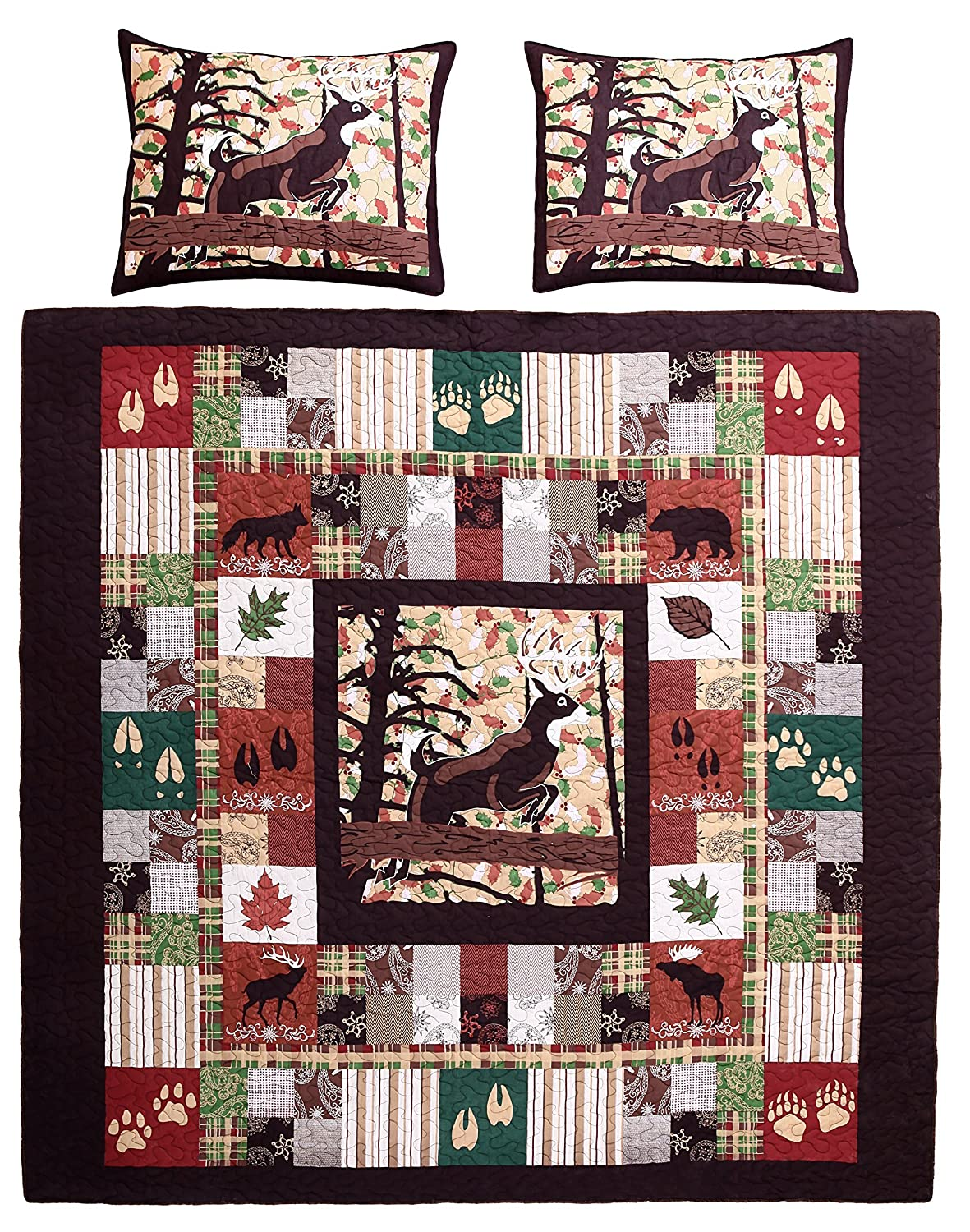 Greenland Home 3 Piece Whitetail Lodge Quilt Set, Full/Queen Greenland Home Fashions GL-1408DMSQ