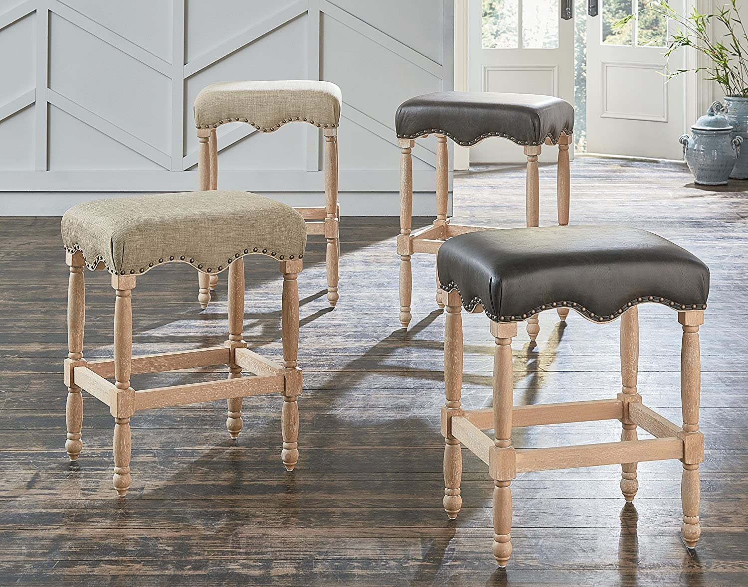 Standard Furniture Yorkshire 30 Barstool with Upholstered Seat, Natural