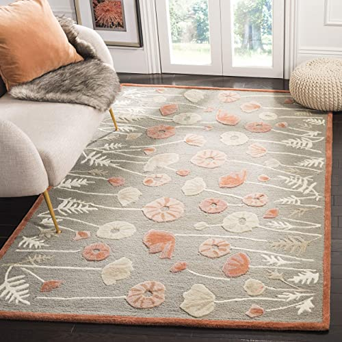 Martha Stewart Safavieh Collection MSR3627B Premium Wool and Viscose Poppy Glossary Cayenne Red Area Rug 9 6 x 13 6