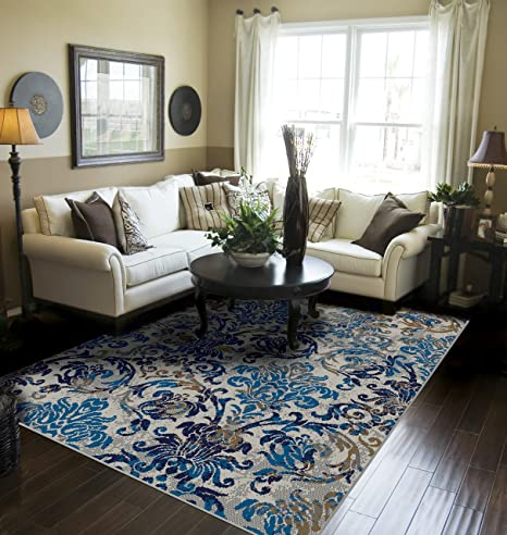 Contemporary Distressed Area Rugs for Living Room 8x10 Blue Large Rugs for  Dining Room 8x11 Under 100