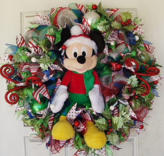 mickey mouse disney plush christmas deco mesh wreath door decor decoration wall
