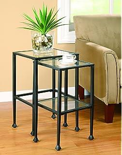 Amazon.com: Black Metal Glass Side End Nesting Tables with Shelf ...