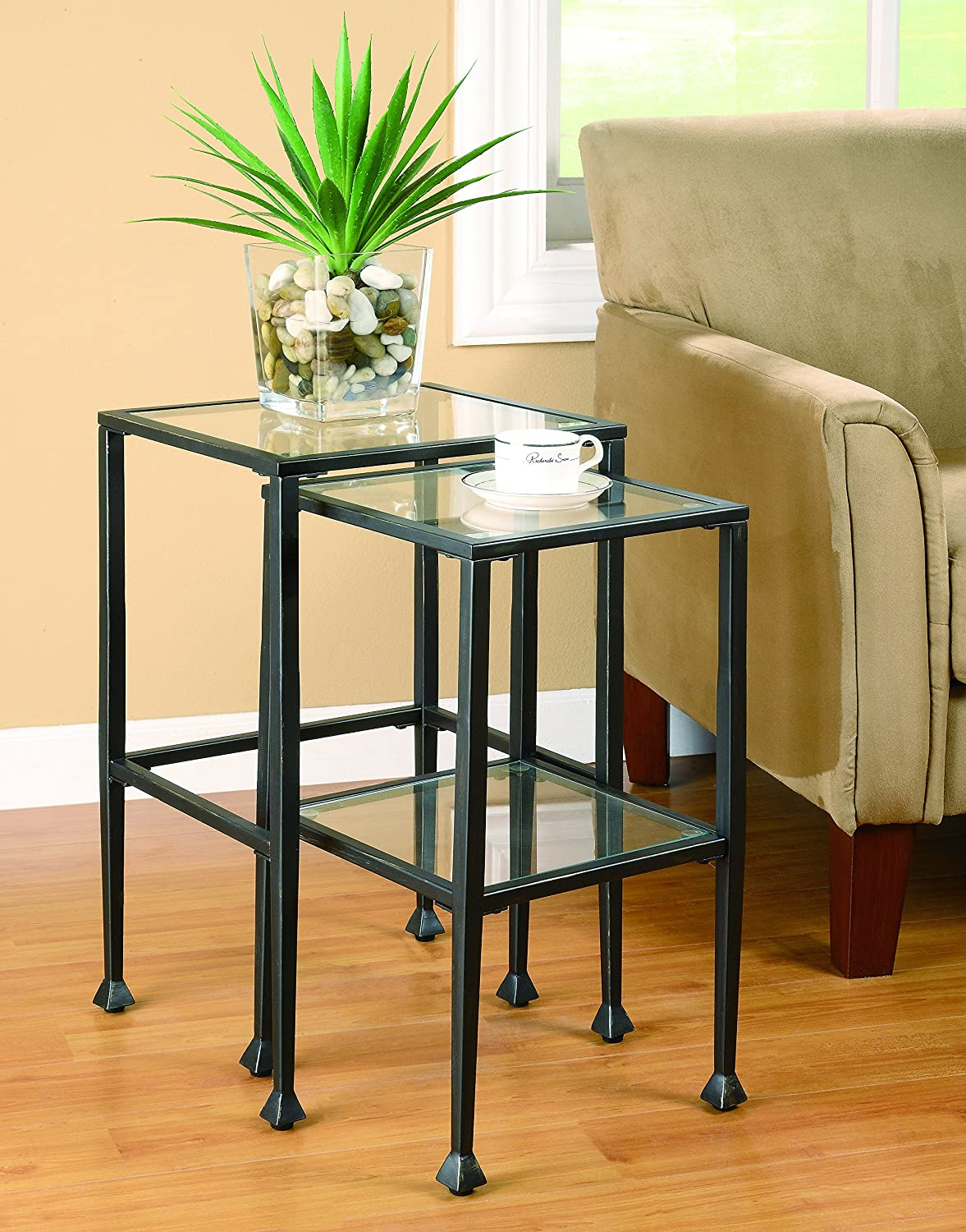 2-piece Glass and Metal Nesting Tables Black Coaster 901073