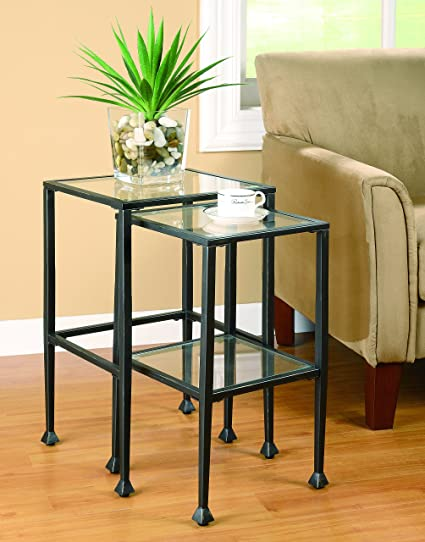 Amazoncom 2 Piece Glass And Metal Nesting Tables Black Kitchen