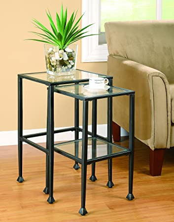 High Quality Coaster 901073 2 Piece Nesting Table Set, Glass And Black Metal