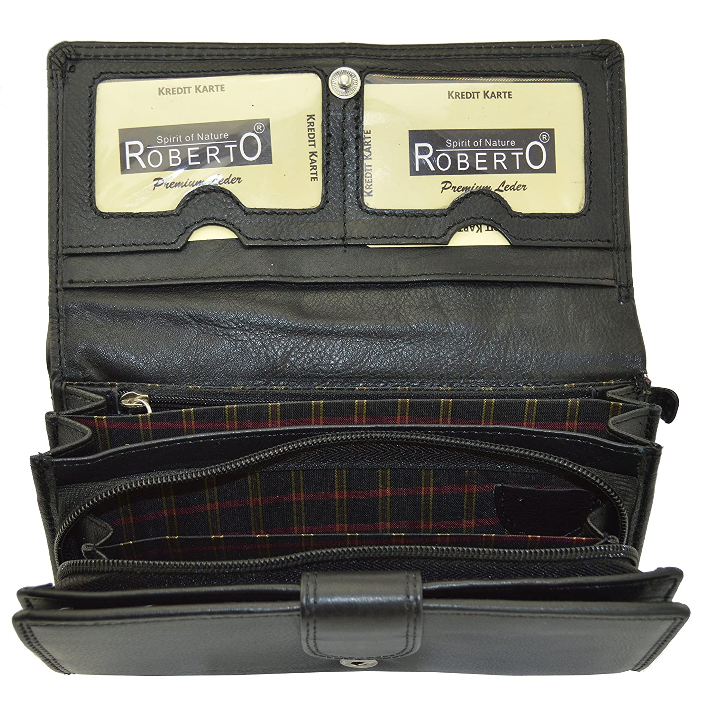 Wildleder Roberto Leder Damen Geldbörse Buisness Brieftasche mit großem Stauraum
