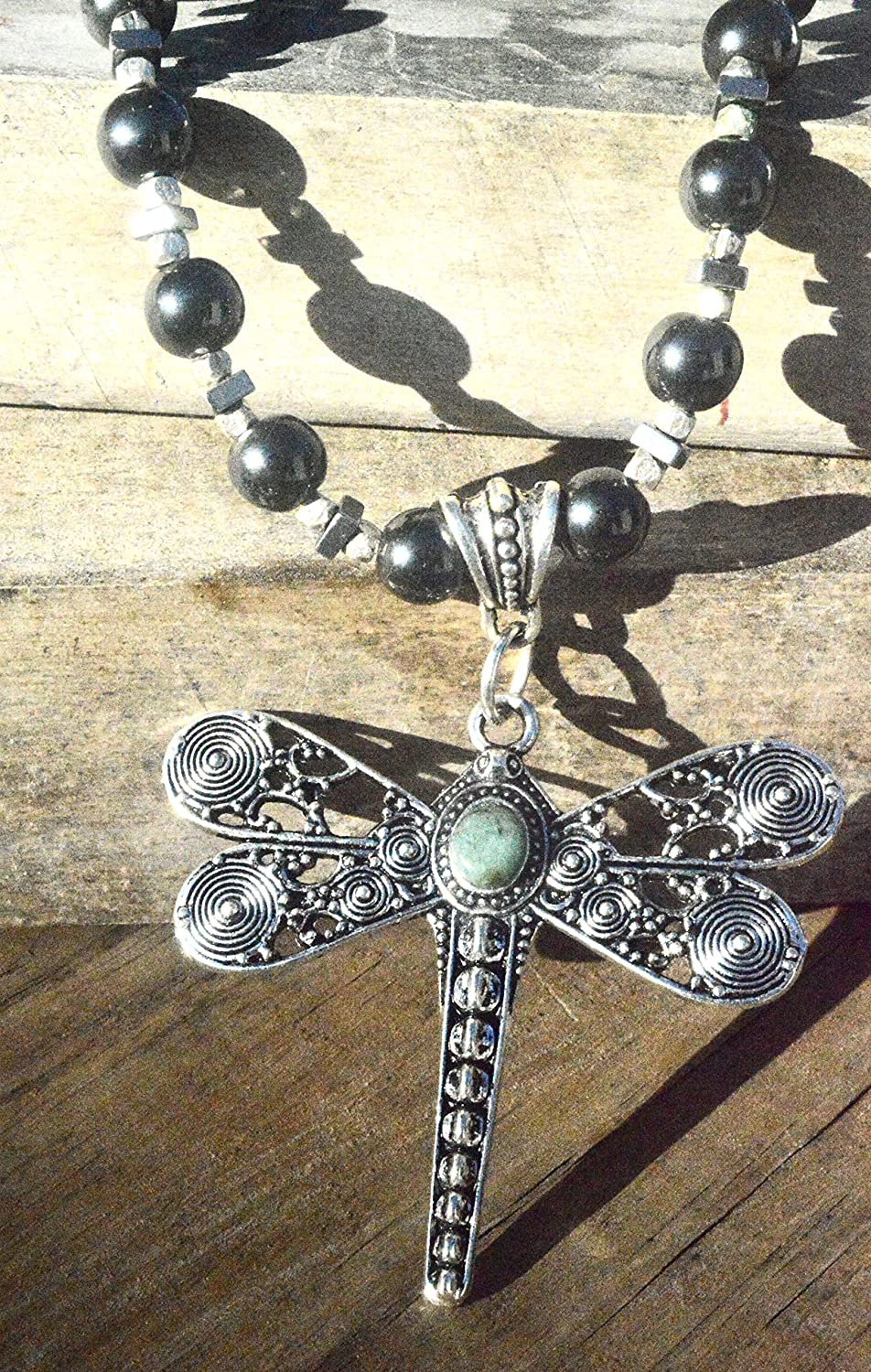 Steampunk Dragonfly Dragon Fly Genuine Emerald Onyx Beads Gemstone pendant Beaded One of a Kind Necklace