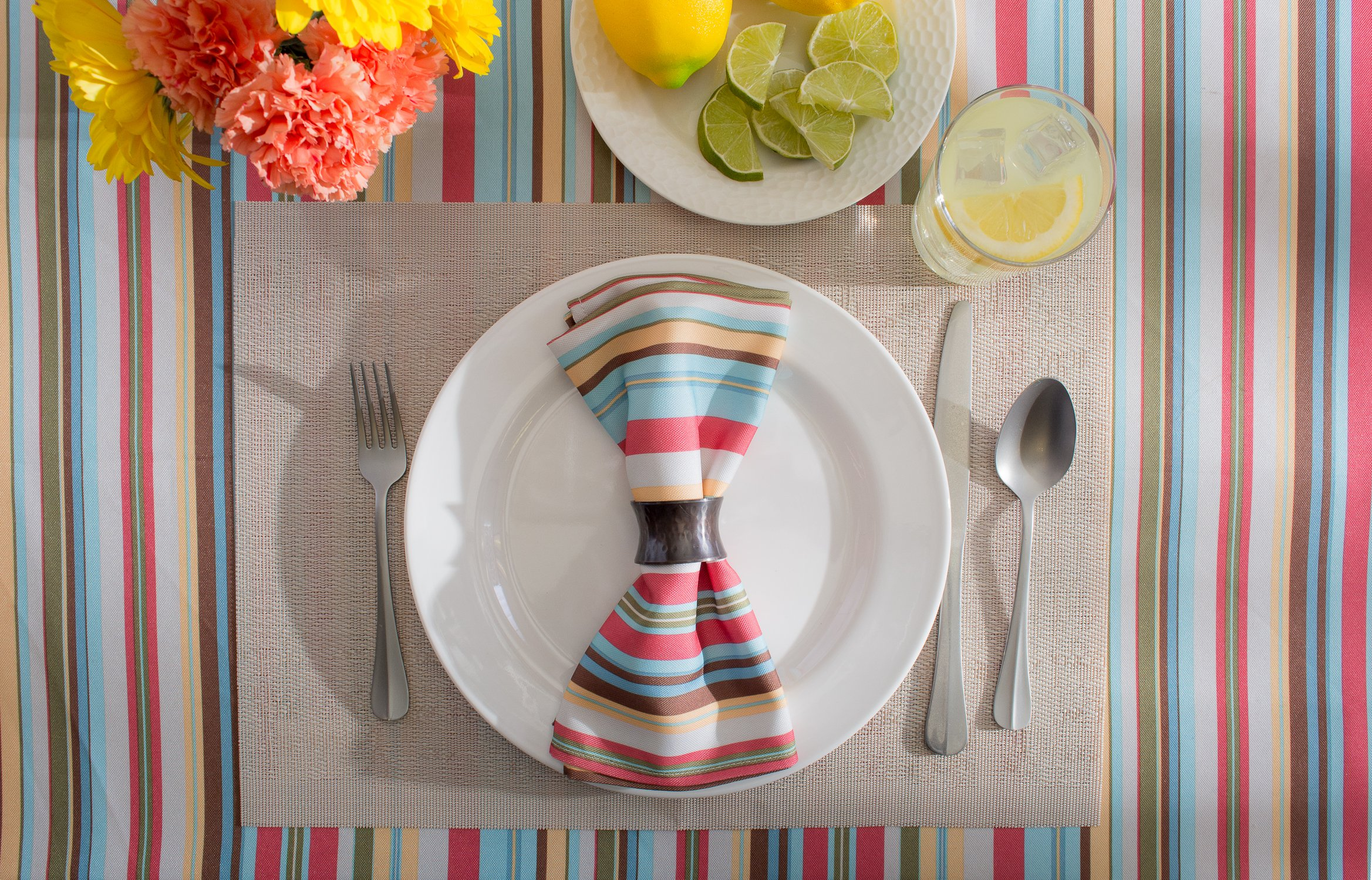 DII Spring & Summer Outdoor Tablecloth, Spill Proof and Waterproof with Zipper and Umbrella Hole, Host Backyard Parties, BBQs, & Family Gatherings - (60x84'' - Seats 6 to 8) Warm Summer Stripe by DII (Image #9)