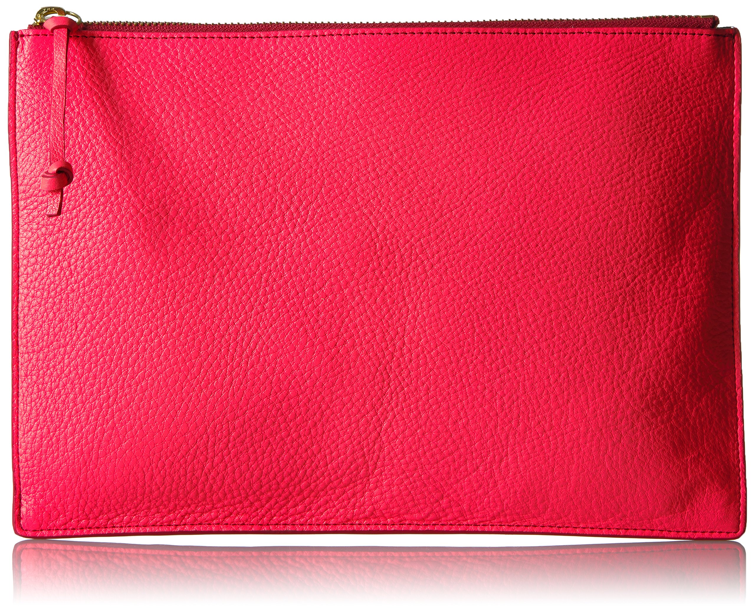 Fossil Emma Leather Tech Pouch, neon coral