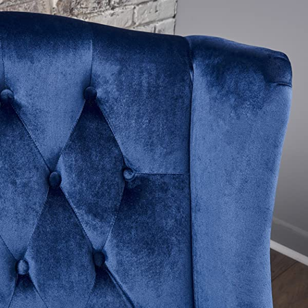 Talisa | Tall Winged Tufted New Velvet Accent Chair | Navy Blue