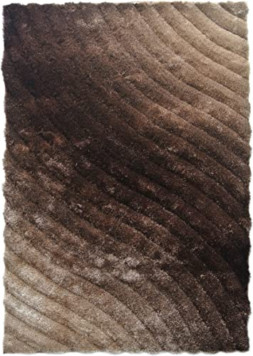 Blazing Needles Curving Waves Textured Gradated Shag Rug, 5-Feet by 7-Feet, Beige Brown
