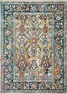 "Loloi Silvia X Justina Blakeney Collection Area Rug, 3'11"" x 5'7"", Stone/Teal"