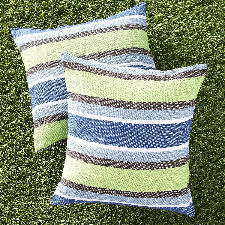 The Lakeside Collection Outdoor Patio Furniture Throw Pillows Set - Set of 2 - Blue Stripes