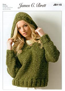 bb92456b1 Ladies Hooded Sweater JB115 Knitting Pattern for James C Brett Rustic Mega  Chunky