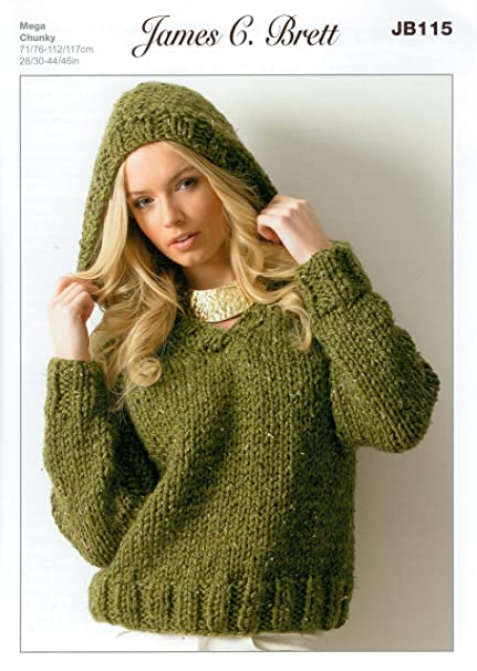 16a9c335ee5d Ladies Hooded Sweater JB115 Knitting Pattern for James C Brett Rustic Mega  Chunky  Amazon.co.uk  Kitchen   Home