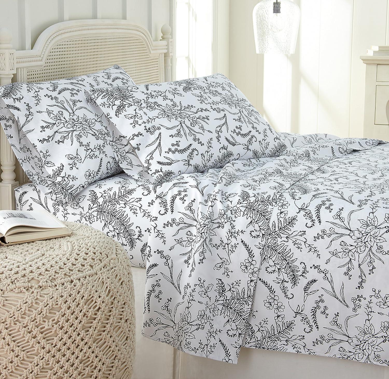 Southshore Fine Linens - Winter Brush Print 4 Piece Sheet Sets, Queen, White Sheets w/Black Flowers