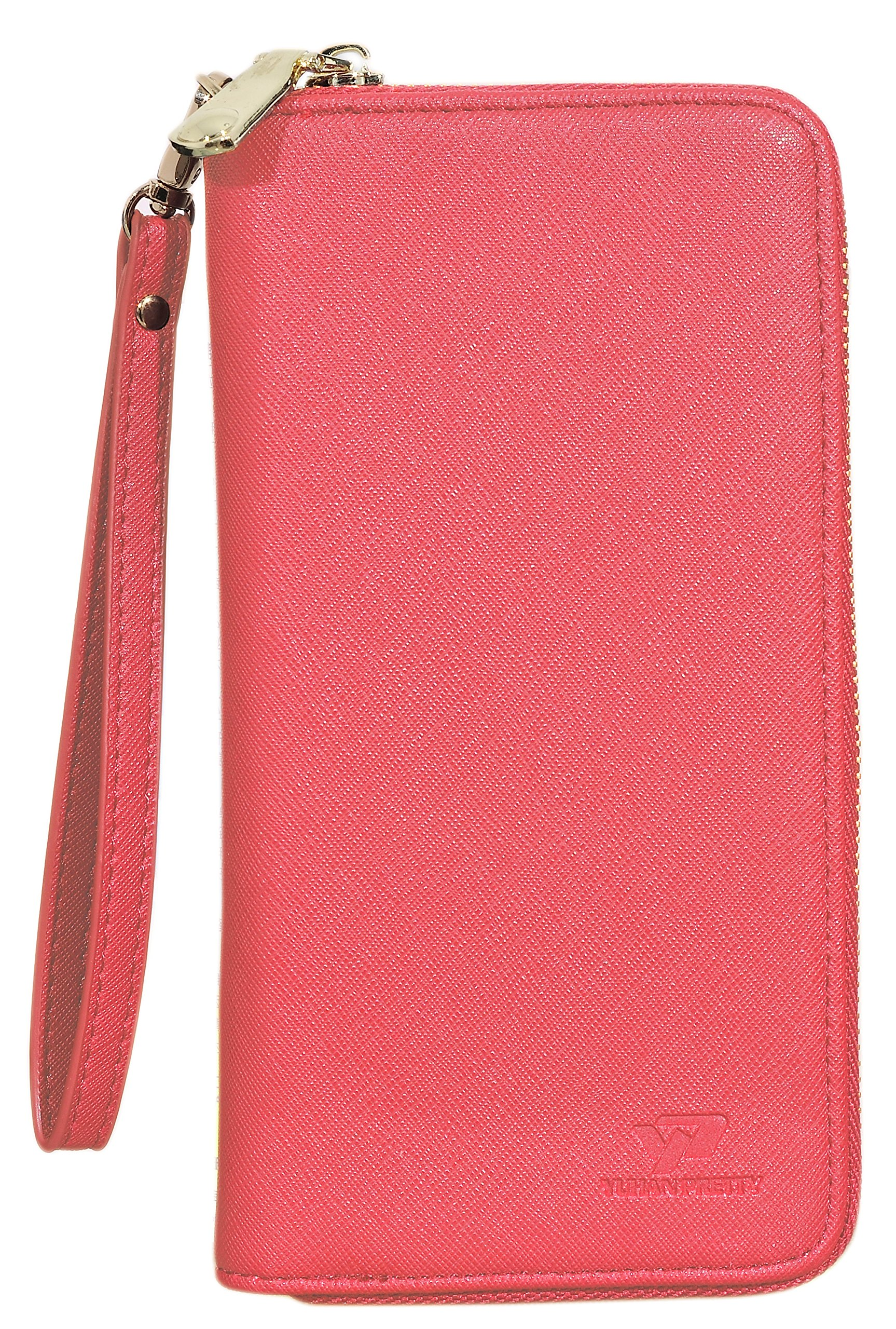Womens Leather Wallet Clutch Long Zipper Wallets with Wrist Strap Card Holder (Red - New) by Yuhan Pretty (Image #2)