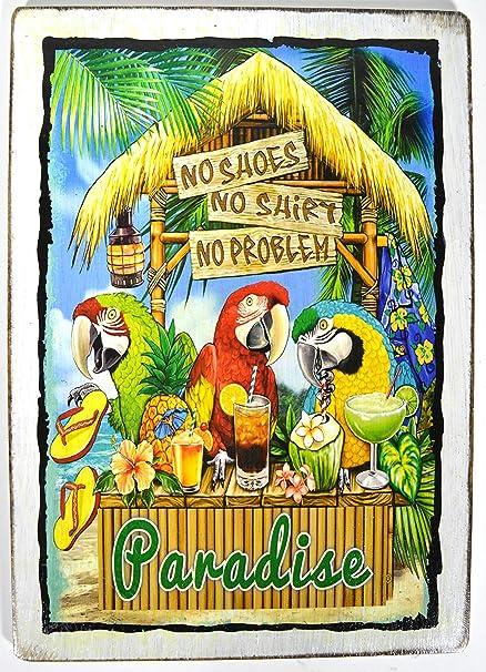 Amazon.com: NO SHOES NO SHIRT NO PROBLEM Tiki Bar Sign Beautiful ...