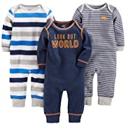 Simple Joys by Carter's Baby Boys' 3-Pack Jumpsuits, Gray, Multi Stripe, Navy Stripe, 0-3 Months