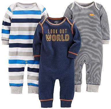 2456cfa86b5c Amazon.com  Simple Joys by Carter s Baby Boys  3-Pack Jumpsuits ...