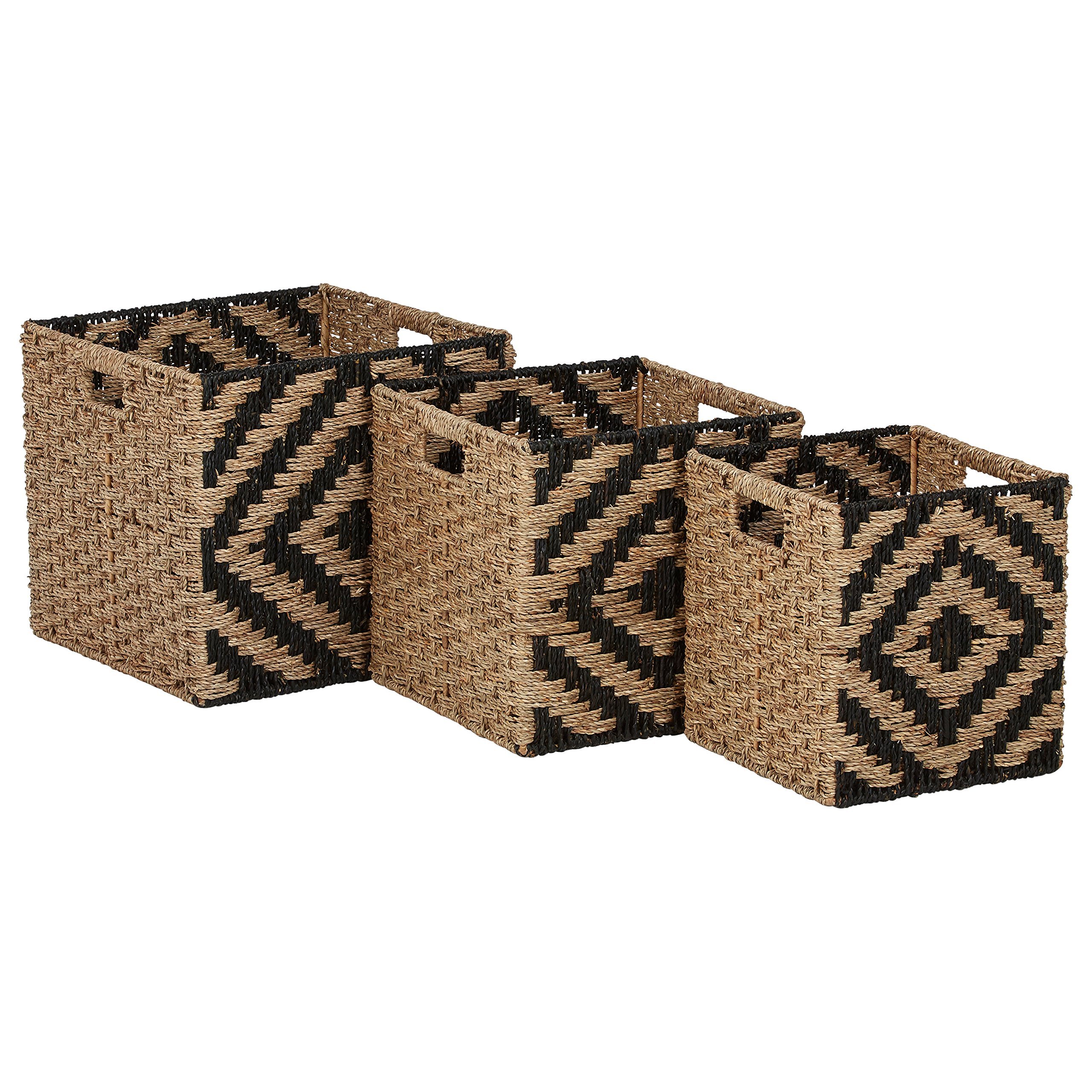 Amazon Brand – Rivet Modern Woven Seagrass Storage Organizer Basket Set - 3-Pack, Natural & Black
