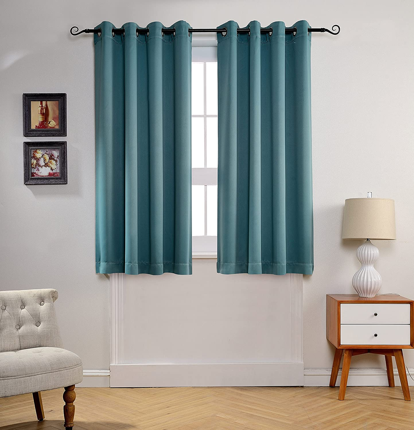 MYSKY HOME Solid Grommet top Thermal Insulated Window Blackout Curtains for Living Room