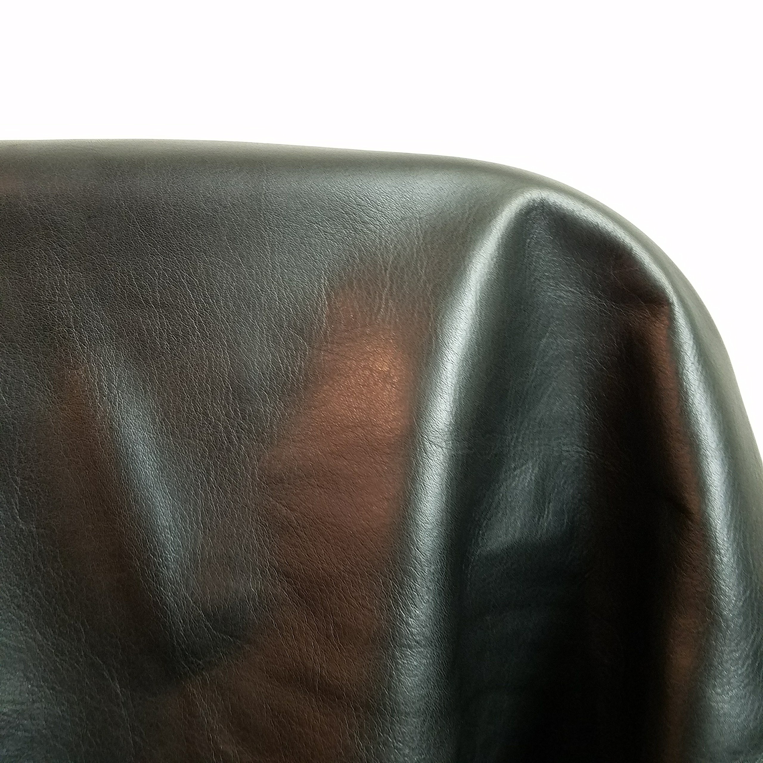 NAT Leathers Black Butter Soft Aniline Light Weight Smooth Fullgrain Nappa 18-22 Square Feet 2.0-2.5 oz Nappa Soft Upholstery Handbag Cowhide Genuine Cow Leather Hide Skin (About 30'' x 60'')