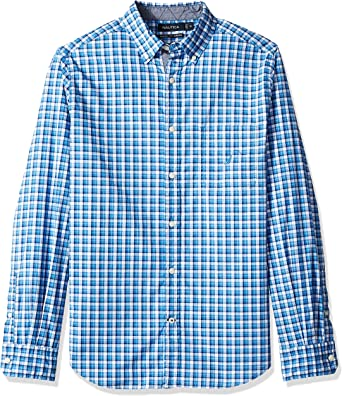 Nautica Mens Stretch Long Sleeve Casual Plaid Button Down Shirt