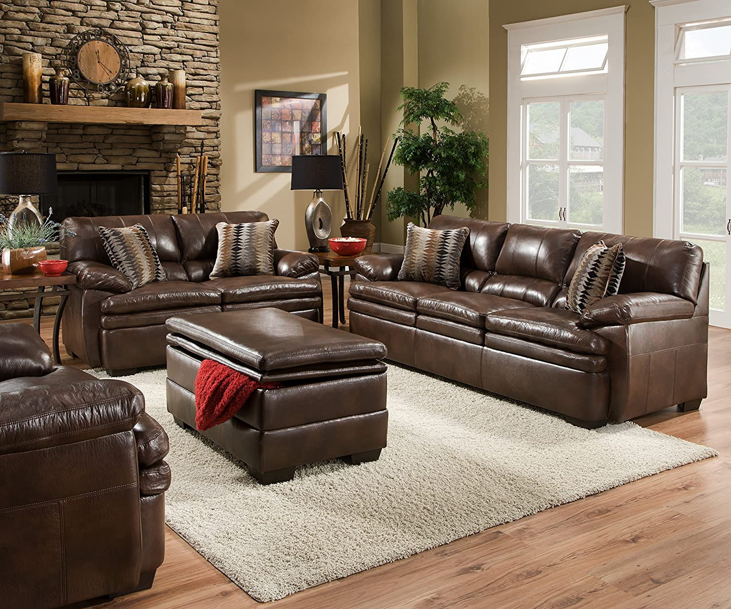amazoncom simmons upholstery editor bonded leather sofa kitchen dining - Leather Living Room Furniture