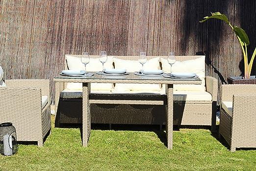 Kiefergarden Newyork Conjunto Comedor Muebles de jardín y Exterior en ratán sintético Premium Beige: Amazon.es: Jardín