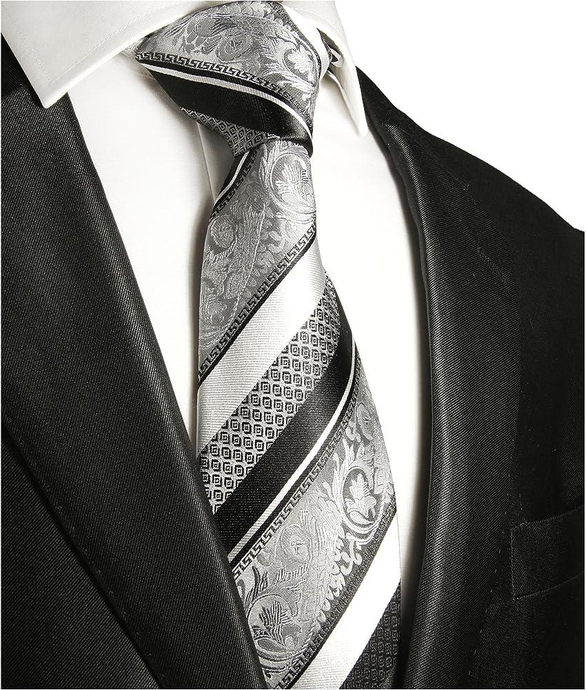 Paul Malone corbata de seda rayado en plata barroca negra: Amazon ...