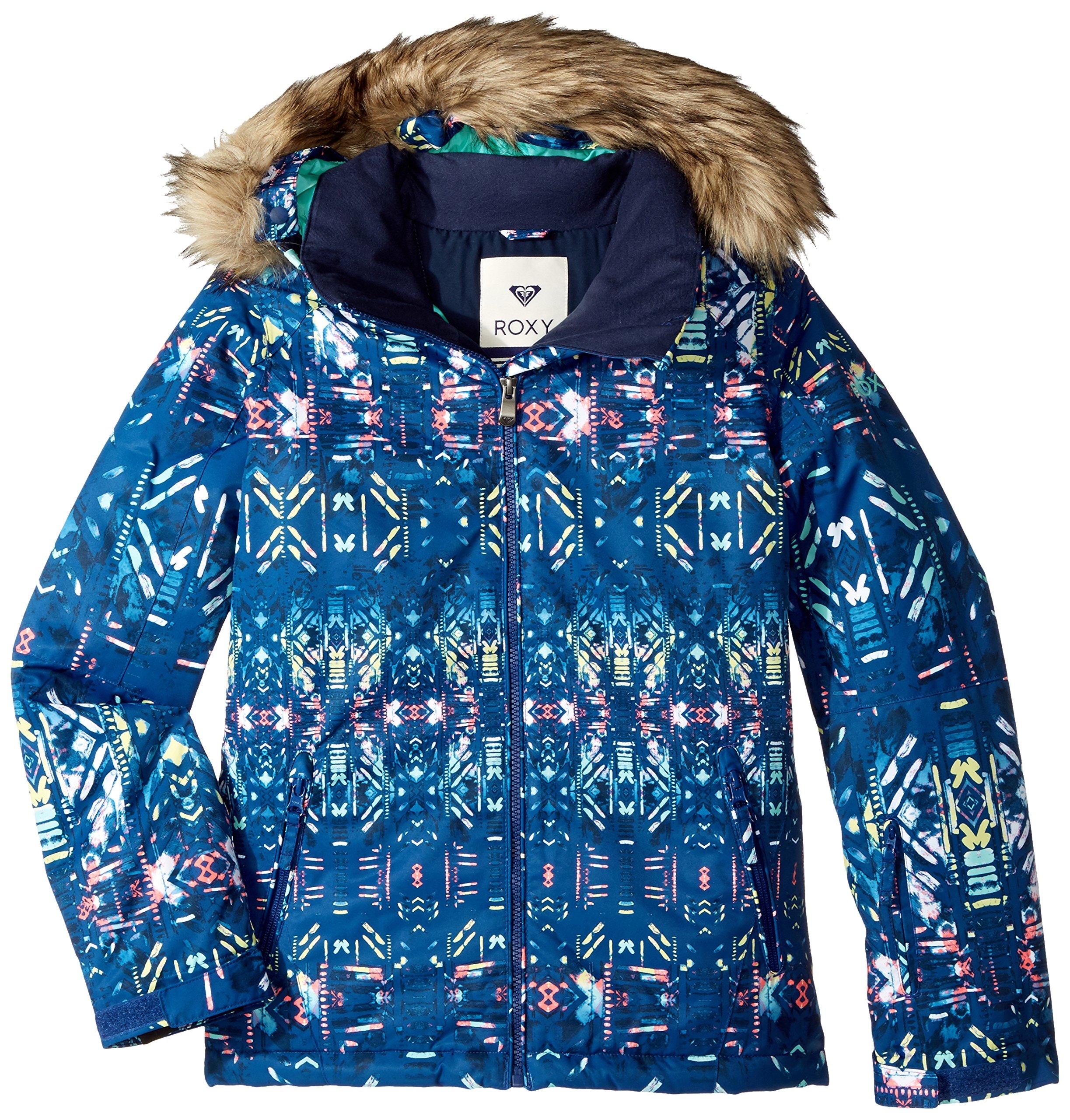 Roxy Big Girls' American Pie Snow Jacket, Sodalite Blue_Haveli Ikat, 8/Small by Roxy