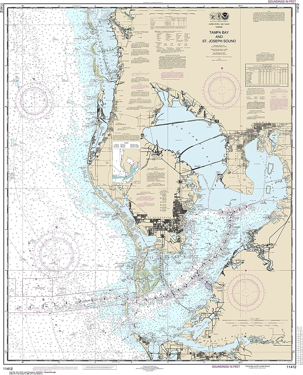 Amazon Com Noaa Chart 11412 Tampa Bay And St Joseph Sound 41 91 X 33 75 Matte Plastic Map Sports Outdoors Map of tampa area hotels: noaa chart 11412 tampa bay and