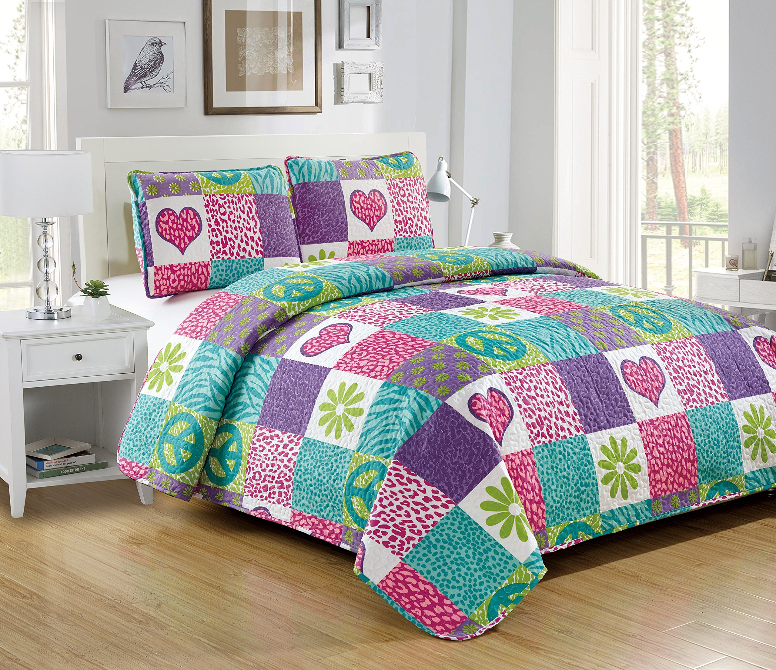 Mk Collection 2 Pc Bedspread Teens/girls Pink Purple Teal Heart Flower Peace Sighn Safari New by MK Home