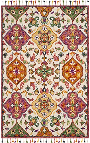 Safavieh Blossom Collection Floral Vines Premium Wool Area Rug, 5 x 8 , Ivory Multicolored