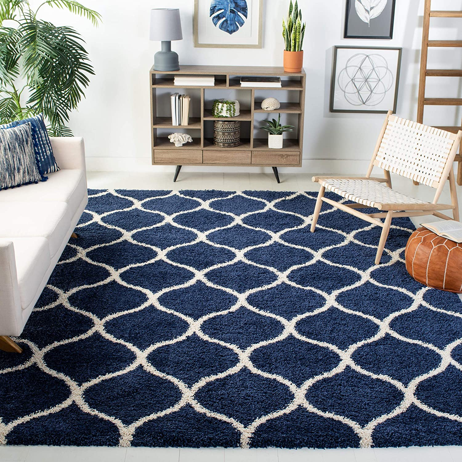 Safavieh Hudson Shag Collection SGH280C Navy and Ivory Moroccan Ogee Plush Area Rug (6' x 9')