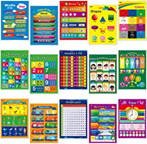 15 Laminated Educational Posters, Alphabet, Shapes, Colors, Numbers 1-100, Multiplication Table, Days of The Week, Months of The Year,Money,Emotions,Human Body,Time,Opposites,Seasons,Weather