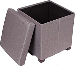 BirdRock Home Folding Storage Ottoman with Legs - Upholstered - 16 x 16 - Linen - Strong and Sturdy - Quick and Easy Assembly - Foot Stool - Grey