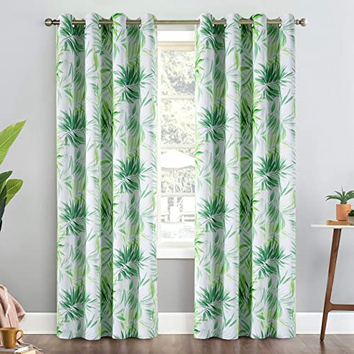 Calimodo Leaf Blackout Curtains Green Plants Grommets 52 x 84 Inches Thermal Insulated Room Darkening Window Drapes