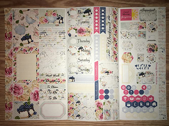 amazon com tea cake personal planner stickers tri fold kit for