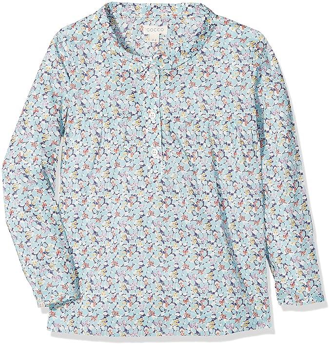 Gocco Camisa Liberty, Blusa para Niñas, Azul (Turquesa Brillante), 4-