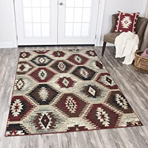 Rizzy Home Xcite Collection Polypropylene Area Rug, 8' x 10', Taupe/Red/Black/Brown/Gray/Sage Green Southwest/Tribal