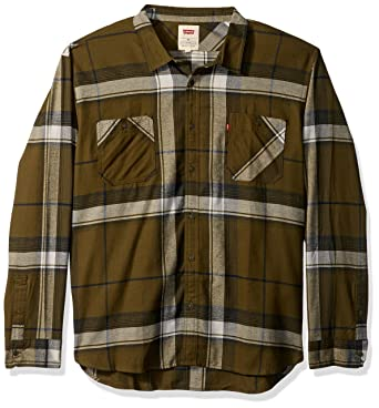 Levis Mens Denhall Long Sleeve Flannel Shirt Olive Night Small
