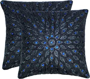 Cotton Craft - 2 Pack - Peacock Hand Beaded Decorative Pillow Cover - 16x16 -Navy - Meticulously & lovingly Handmade by Skilled Craftsmen - Cover only