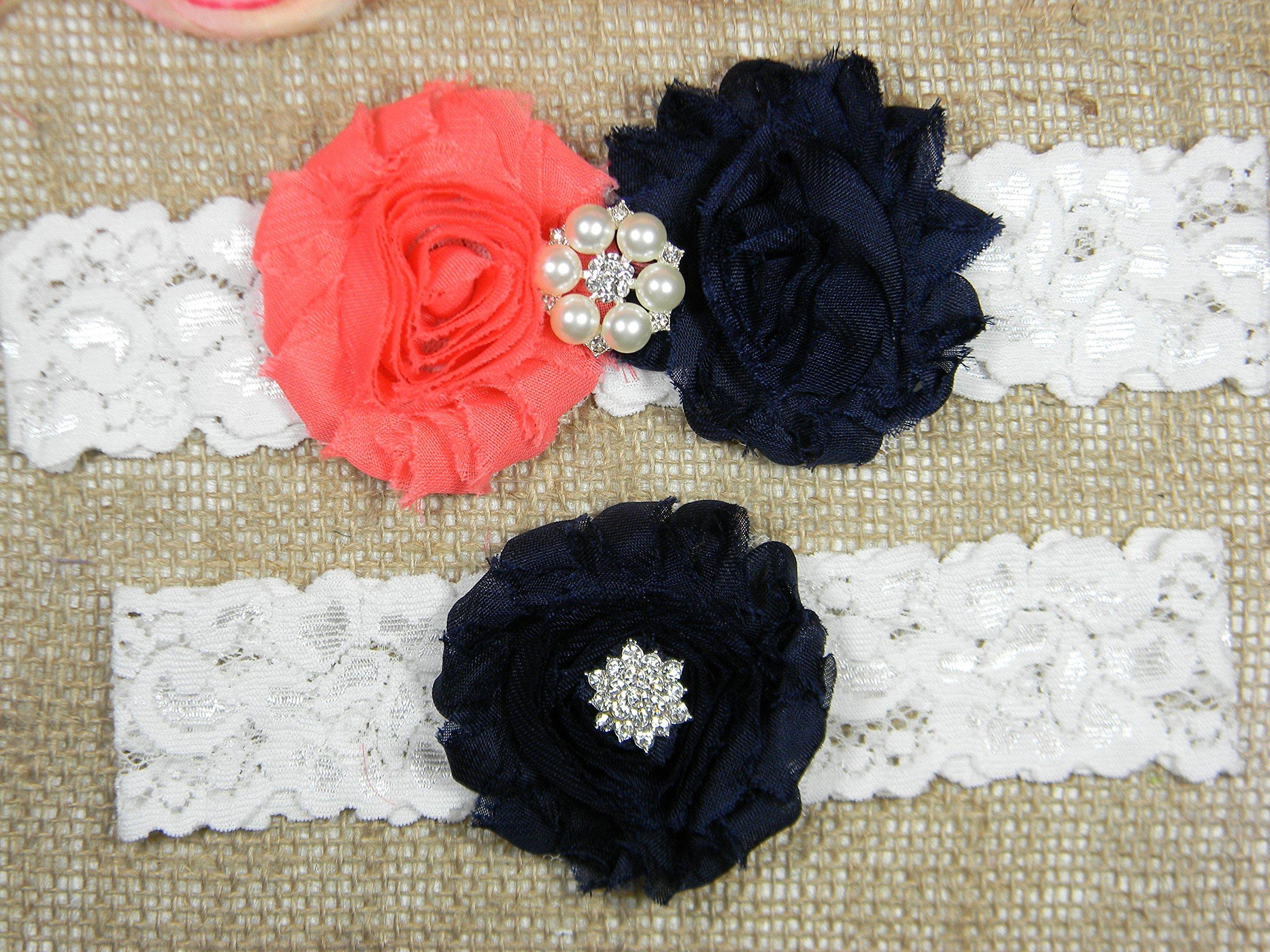 Coral and Navy Blue Garter, Wedding Garter Set, Bridal Garter Belt, Keepsake and Toss Stretch Lace Garters