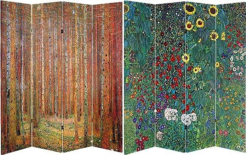 Oriental Furniture 6 ft. Tall Double Sided Works of Klimt Room Divider – Tannenwald Farm Garden