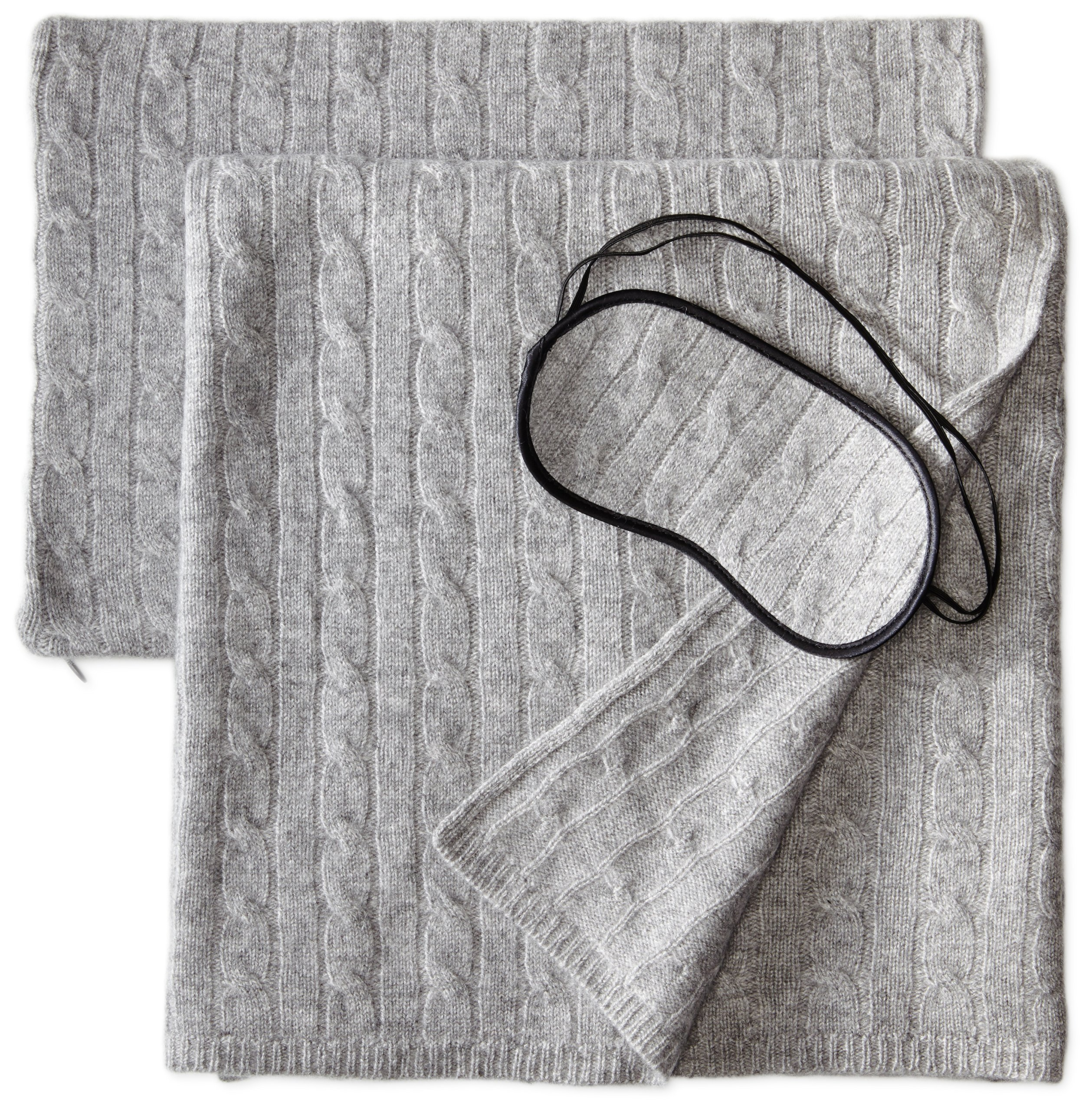 Sofia Cashmere 100% Cashmere Cable Travel Set with Blanket, Pillow Case, and Eye Mask, Grey, One Size